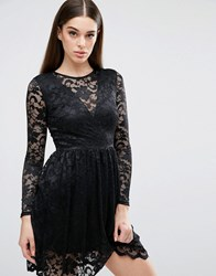 Club L Long Sleeve Lace Skater Dress With V Front Plunge Black