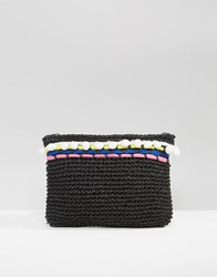 South Beach Woven Clutch Bag With Poms And Piping Black