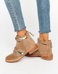 Aldo Buckle Detail Flat Chelsea Boots Taupe Tan