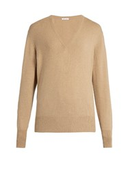 Tomas Maier V Neck Cashmere Sweater Dark Beige