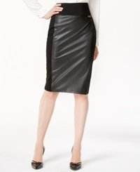 Calvin Klein Faux Leather Panel Pencil Skirt
