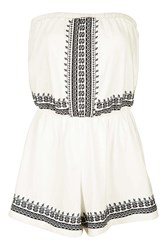 Topshop Petite Embroidered Playsuit Cream
