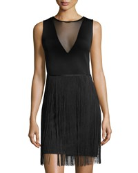 Romeo And Juliet Couture Sleeveless Fringe Dress W Mesh Inset Black