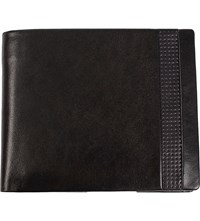 Dents Punched Detail Leather Wallet Black