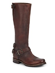 Frye Veronica Knee High Leather Buckle Boots Dark Brown