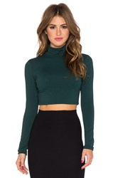 Susana Monaco Turtleneck Crop Top Green