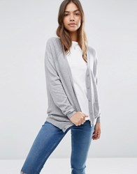 Asos Boyfriend Cardigan In Cashmere Mix Mid Grey