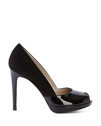 Karen Millen Suede And Patent Leather Peep Toe Pumps Black