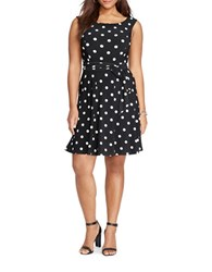Lauren Ralph Lauren Plus Polka Dot Printed Dress Black Cream