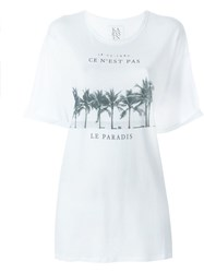 Zoe Karssen Palm Tree Print T Shirt White