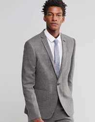 Asos Slim Suit Jacket In Grey Tweed Grey