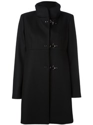 Fay Hook Fastening Coat Black