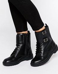 T.U.K. Ealing Strap Lace Up Leather Flat Ankle Boots Black Leather