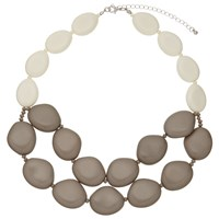 John Lewis Double Beaded Short Necklace Taupe Off White