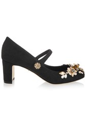 Dolce And Gabbana Embellished Brocade Mary Jane Pumps Black