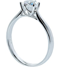 Carat Rosy Round 3.5Ct Solitaire Ring White