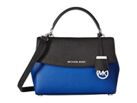 Michael Michael Kors Ava Small Top Handle Satchel Electric Blue Black Satchel Handbags
