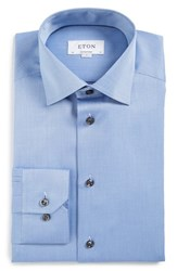Eton Men's Big And Tall Contemporary Fit Geometric Dress Shirt Blue