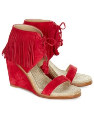 Paul Andrew Red Fringed Suede Wedge Heels