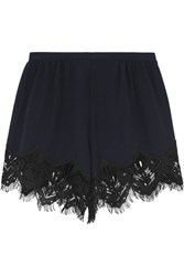 Chloe Lace Trimmed Silk Crepe De Chine Shorts Midnight Blue