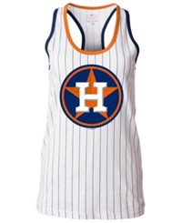 5Th And Ocean Women's Houston Astros Pinstripe Glitter Tank Top White
