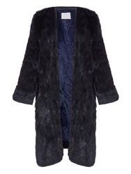 Toga Contrast Layer Leather And Rabbit Fur Coat
