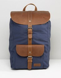 Forbes And Lewis Leather Lincoln Backpack In Navy Navy