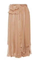 Rochas Pleated Chiffon Skirt With Draped Detail Nude