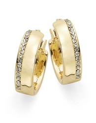 Lauren Ralph Lauren Rhinestone Trimmed Hoop Earrings Gold
