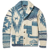 Polo Ralph Lauren Shawl Collar Intarsia Cotton Silk And Linen Blend Cardigan Blue