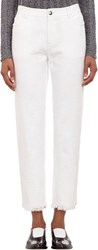 T By Alexander Wang Cut Off Crosshatch Jeans White