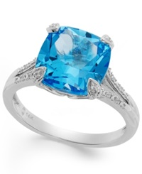 Macy's Swiss Blue Topaz 4 Ct. T.W. And Diamond Accent Ring In 14K White Gold