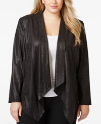 Tahari By Arthur S. Levine Tahari Asl Plus Size Faux Leather Draped Jacket