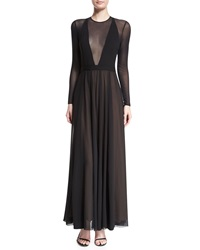 Camilla And Marc Long Sleeve V Neck Illusion Flowy Dress