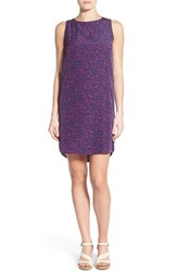Halogen Women's Sleeveless Shift Dress Navy Purple Fragment Print