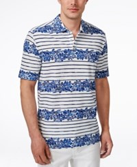 Tommy Bahama Men's Lei Away Floral Print Stripe Polo Ink