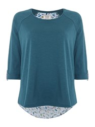 Dickins And Jones Falling Leaves Woven Back Top Teal