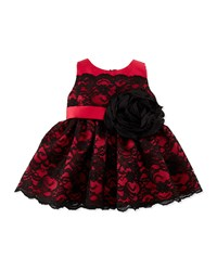 Zoe Lace Overlay Party Dress Black Red