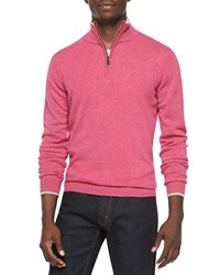 Neiman Marcus Cashmere Cloud Quarter Zip Sweater Pink