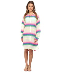 Mara Hoffman Gauze Button Up Top Rainbow Stripe Gauze Women's Dress White