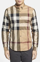 Men's Burberry Brit 'Fred' Trim Fit Sport Shirt Camel