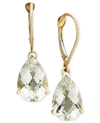 Macy's 14K Gold Earrings Green Quartz Pear Drop 5 1 2 Ct. T.W.
