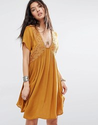 Mango Plunge Front Embroidered Smock Dress Brown