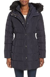 Calvin Klein Women's Hooded Water Resistant Puffer Coat With Faux Fur Trim Navy