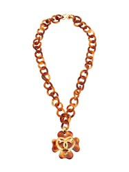 Chanel Vintage Tortoiseshell Chain Pendant Long Necklace Brown