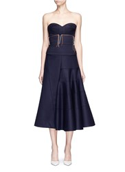Victoria Beckham Knotted Stripe Strapless Wool Bustier Dress Blue
