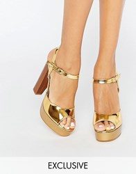 Terry De Havilland Coco Gold Glitter Platform Heeled Sandals Nude Champagne