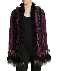 Anna Sui Long Sleeve Open Front Faux Fur Jacket Magenta