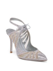 Rene Caovilla Mesh And Strass Point Toe Slingback Sandals Light Grey
