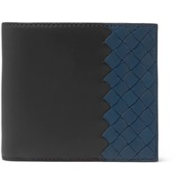 Bottega Veneta Two Tone Intrecciato Leather Billfold Wallet Blue
